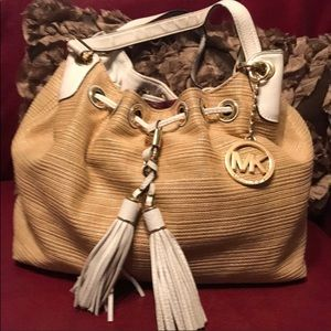 Michael Kors Straw and Leather Shoulder bag